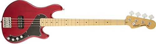 Deluxe Guitar Crimson (Squier by Fender Deluxe Dimension Bass Guitar IV Maple Neck, Crimson Red Transparent)