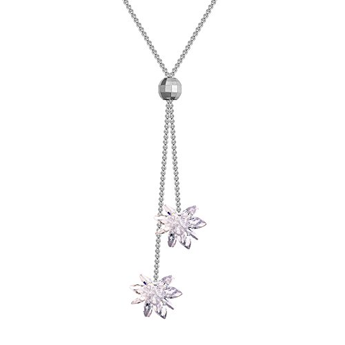 Cubic Zirconia Flower Jewelry Tassle Pendant Long Chain Necklace by Pingqinc