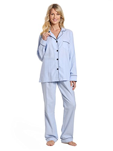 Noble Mount Women's Cotton Lightweight Flannel Pajama Set - Herringbone Chambray Blue - M Soft Flannel Pajamas
