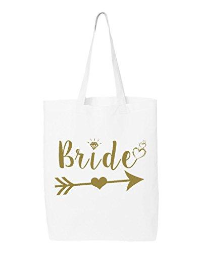 t Arrow Gold Eco Cotton Tote Wedding Reusable Shopping Bag 6 oz White 1 Pack Eco (Cotton Eco Tote)