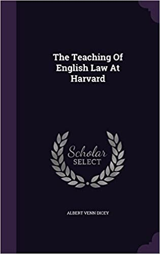 Book The Teaching Of English Law At Harvard