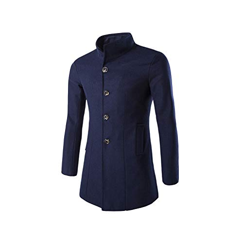Men Long Trench Coat Wool Jacket Stand Collar Wool Blends Black Overcoa,Navy Blue,L