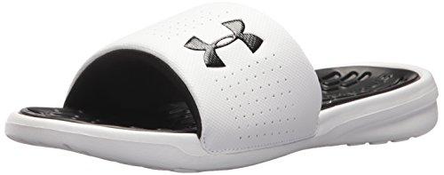 Under Armour Men's Playmaker Fixed Strap Slide Sandal, White (102)/Black, 9 (White Jordan Sandals)