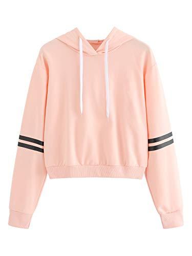 Womens Pink Hoodie Sweatshirt - MAKEMECHIC Women's Striped Long Sleeve Pullover Sweatshirt Crop Top Hoodies Pink L
