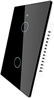 MOES WiFi RF433 Touch Wall Smart Switch No Neutral Wire Needed, Single Wire Smart Switch Compatible with Smart