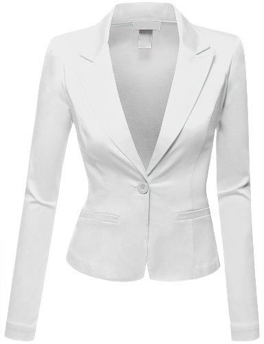 Doublju Women Peaked Collar Long Sleeve Stretchy Fabric Blazer Plus-size White 2X