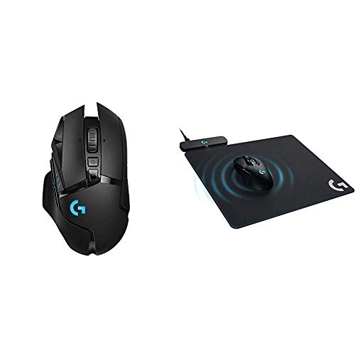 Logitech G502 Lightspeed Wireless Gaming Mouse with Hero 16K Sensor and Lightsync RGB & G Powerplay Wireless Charging System for G703, G903 Lightspeed Wireless Gaming Mouse Pad