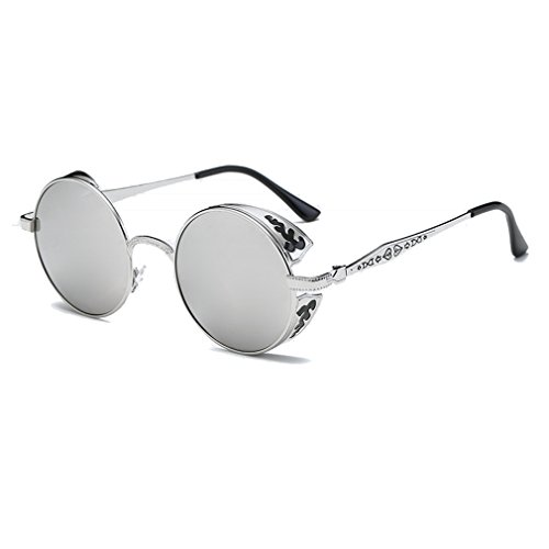 LOMOL Retro Trendy Cool Steampunk Flip Lens UV Protection Polarized Round Sunglasses For - Are Polarized Persol All Sunglasses