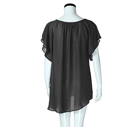 Tempo Plus Pizzo Chiffon Donna V Schwarz Estivi Di Prodotto Eleganti Monocromo Sciolto Shirt Bolawoo Blusa neck Camicetta Corta Libero Giuntura Mode Manica Marca Tops wadqBXqF