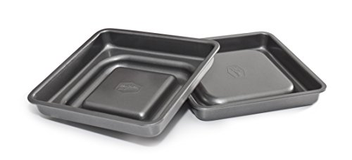 Mrs. Fields Bakeware Fill N' Flip 9-Inch Locking Layer Cake Set, Square, Gray