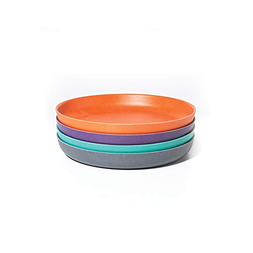 (EKOBO Kids Bamboo 4-piece 7'' Plate Set, Small, Gift Box, BIOBU Eco-material, Assorted Colors)