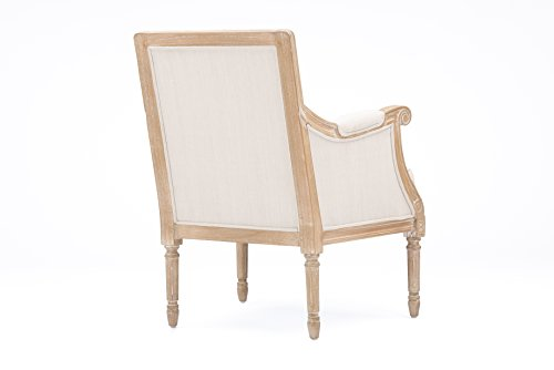 Farmhouse Accent Chairs Baxton Studio Chavanon Wood and Linen Traditional French Accent Chair, Light Beige farmhouse accent chairs