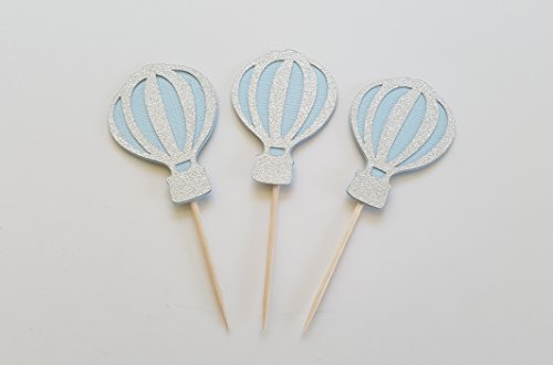 Light Blue and Silver Hot Air Balloon Cupcake Toppers. Party