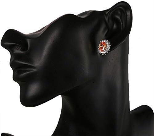 Pendientes de cristal ovalados de cristal austriaco para mujer rellenos pendientes de ópalo de fuego azul redondo blanco morado joyería
