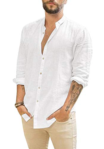 Mens Linen Button Up Shirts Casual Long Sleeve Loose Fit Beach Shirts ()