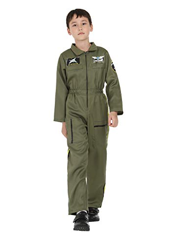 Kids Air Force Fighter Pilot Costume Top Gun Role Play Costumes Boys Flight Jumpsuit Army Flightsuit Outfits Green M ()