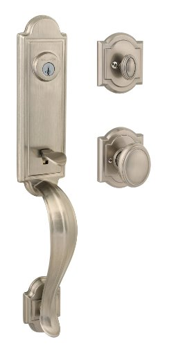 - Baldwin Prestige  Avendale Single Cylinder Handleset with Carnaby Knob featuring SmartKey in Satin Nickel