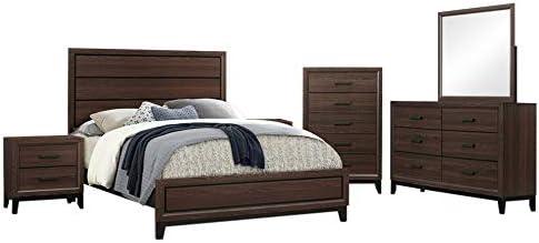 Amazon Com Asheville 6 Piece Bedroom Set King Brown Wood Modern Panel Bed Dresser Mirror Chest 2 Nightstands Kitchen Dining