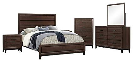 Amazon.com: Asheville 6 Piece Bedroom Set, Queen, Brown Wood, Modern ...