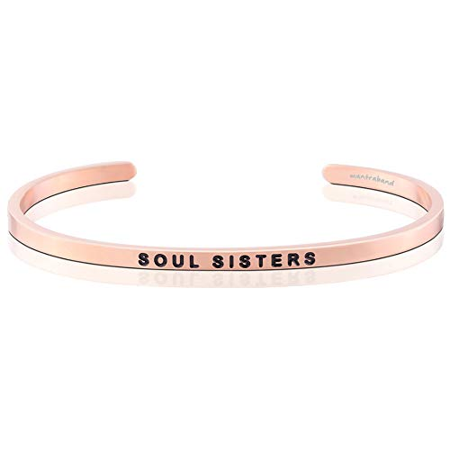 (MantraBand Bracelet - Soul Sisters - Inspirational Engraved Adjustable Mantra Cuff - Rose Gold - Gifts for Women (Pink))