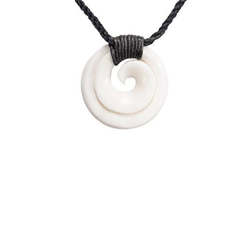 81stgeneration Bone Maori Koru Spiral Round Charm Pendant