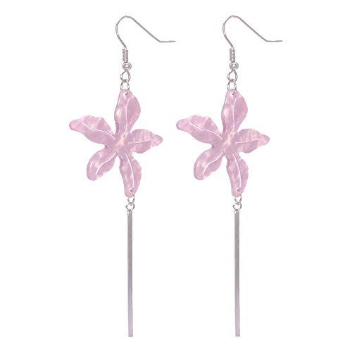 Purple Titanium Earrings - Dangle Earrings for Women Girls Stainless Steel Earrings with Resin Flower Statement Fashion Jewelry-Purple Earrings
