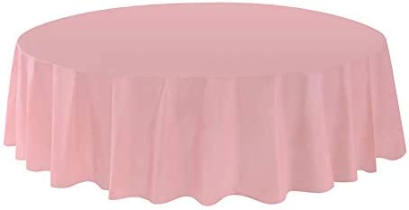 Allgala 6-Pack Premium Plastic Table Cover Medium Weight Disposable Tablecloth-6PK Round 84-Pink-TC58609