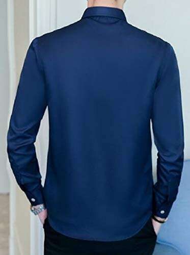 Navy AU Sleeve Button Men's Sodossny Slim Down Business Long Dress blue Fit Shirt P46dwqnx