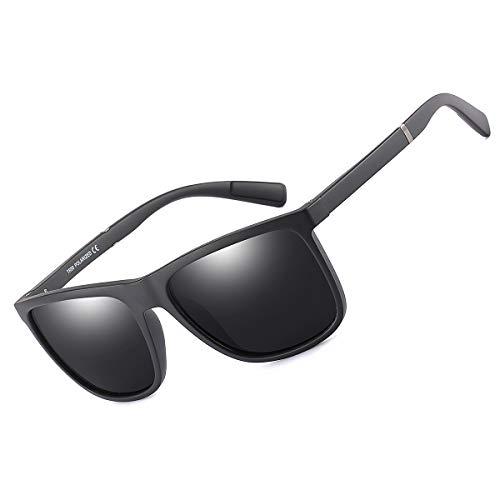 Mens Sunglasses 100% UV protection TR90 Frame Ultra Light Polarized Sunglasses for Men Women (P0066/Matte Black)