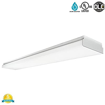 Luxrite 48W 4FT LED Wraparound Light Fixture, 4000K Cool White, 5040 Lumens, Damp Rated, 110-277V, Frost Cover, CRI80, UL Listed, DLC Listed (Eligible for Rebate Programs), 1-Pack