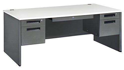 Executive Modular Desk (OFM Executive Series Double Pedestal Panel End Executive Desk - Durable Locking Utility Desk, 36.25