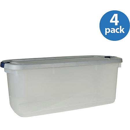 Rubbermaid 23.75Gallon (95Quart) Roughneck Clears Storage Box, Clear/Gray, Set of 4