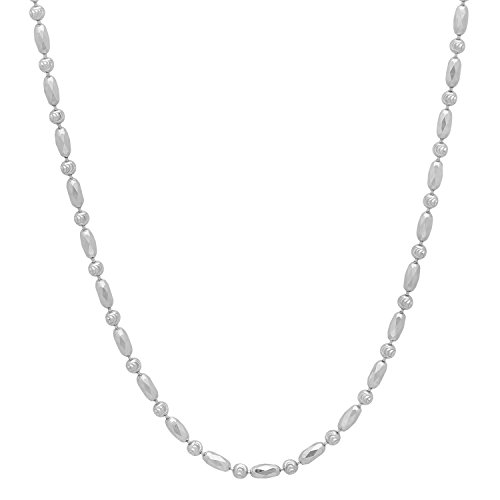 2mm Rhodium Plated Solid .925 Sterling Silver Faceted Beaded Necklace, 18