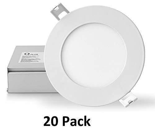 QPLUS 4 Inch Slim Panel Ultra Thin Recessed LED Light/Pot Light/Down Light,  4000K Cool White, 10 Watts (=75W), 750 Lumens, Dimmable, IC