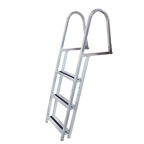 - HealthyBells Welded Aluminum Stand-Off Dock Ladder with Quick Release, 3-Step