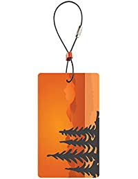 Travel Green Luggage Tag, Trees, Orange, One Size