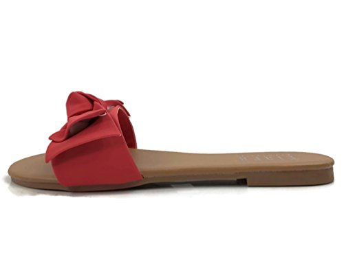 Wide Band Summer Sandal Slide with Twist Bow Flat, Coral, 8