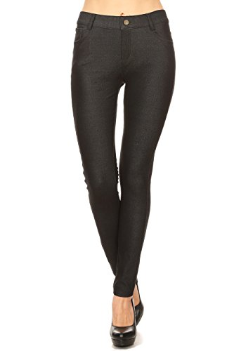 (ICONOFLASH Women's Black Jeggings with Pockets - Pull On Skinny Stretch Colored Jean Leggings Size Medium )