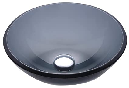 Kraus GV 104 14 Clear Black 14 Inch Glass Vessel Bathroom Sink