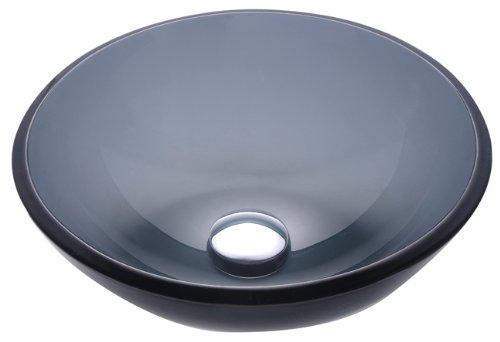 Kraus GV-104-14 Clear Black 14 inch Glass Vessel Bathroom (Black Clear Sink)