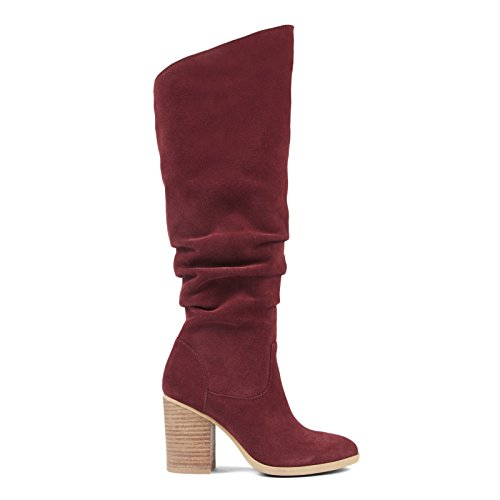 Knee US Suede M 7 West Pull On Wine Women's Slouch High Boots Nine Abee qZOgxX
