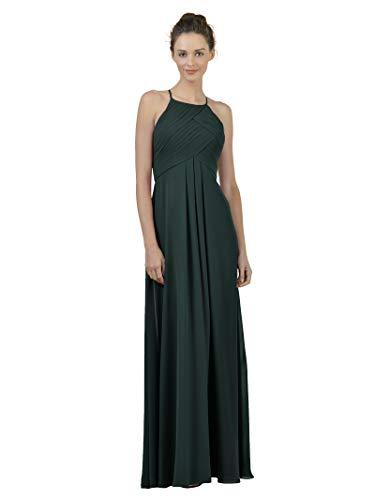 Alicepub Long Chiffon Bridesmaid Dress Maxi Evening Gown A Line Plus Party Dress, Dark Emerald, US14