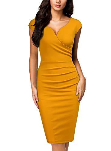 Miusol Women's Vintage Slim Style Sleeveless Business Pencil Dress (X-Large, C-Yellow)