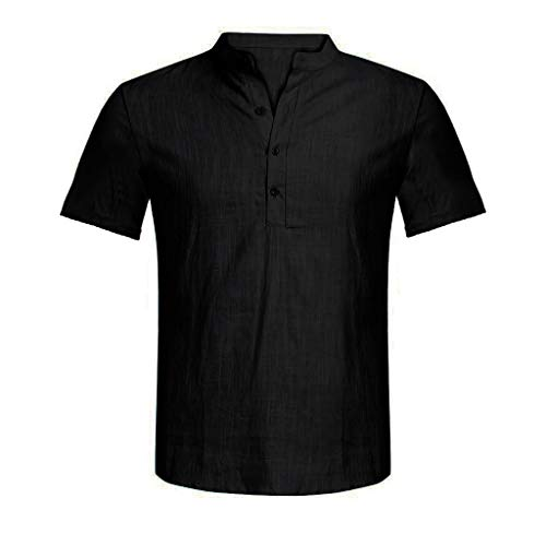 - Men's Casual Loose Fit Shirts Cotton Linen Pure Color Short Sleeve Henley Fashion T-Shirts Tee Black