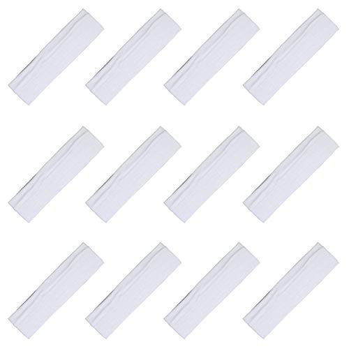 Kenz Laurenz Soft and Stretchy Elastic Cotton Headbands, (Pack of 12) - White