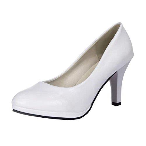 Material y Vestir Zapatos para Zapatos Mujer Cóctel Plataforma Mujer de Fiesta con para Ceremonia Boda Tacon Silenciado de Blanco para Alto Sintético q4tUx4pw