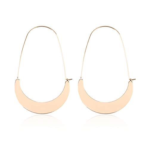 Half Moon Earrings - KPA Fashion Women's Lightweight Curved Half Moon Threader Dangles - Crescent Moon Metallic Hoop Earrings (Flat Crescent Moon - Gold)