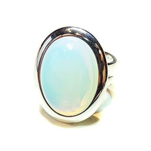 BlackCat White Opalite Classic Gemstone Ring - - Ring Moonstone Opalite