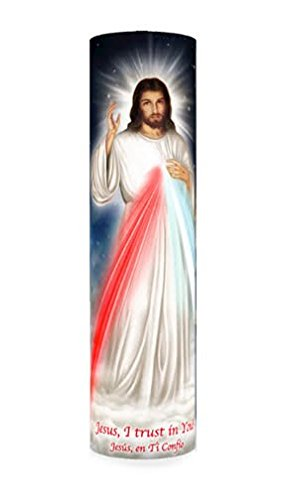 Jesus, I Trust in You, Divine Mercy, LED Flameless Devotion Prayer Candle 6 Hour Timer, Religious Gift