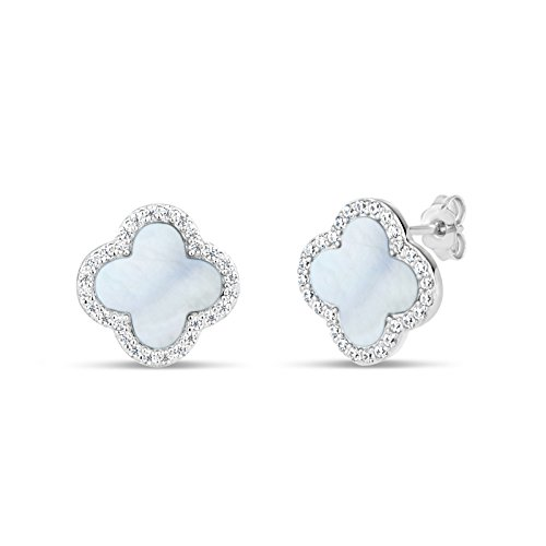 - Sterling Silver Mother Of Pearl With Cubic Zirconia Clover Stud Earrings